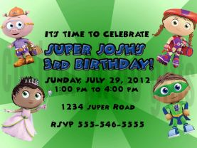 Super Why Birthday Invitation Personalized Digital File
