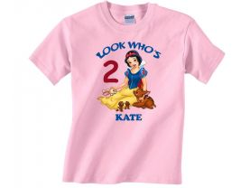 Disney Princess Snow White Personalized Custom Birthday Pink or Blue Shirt in sizes Toddler 2T to Youth XL