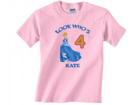 Disney Princess Cinderella Personalized Custom Birthday Pink or Blue Shirt in sizes Toddler 2T to Youth XL