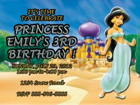 Disney Princess Jasmine Invitation Personalized Birthday Digital File
