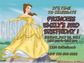 Disney Princess Belle Invitation Personalized Birthday Digital File