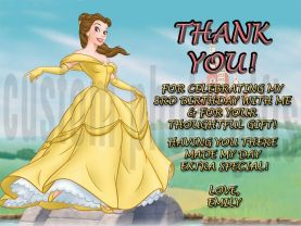 Disney Princess Belle Thank You Card Personalized Birthday Digital File