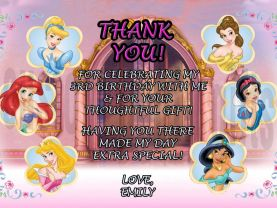 Disney Princesses Thank You Card Personalized Birthday Digital File