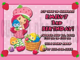 Strawberry Shortcake Invitation Personalized Birthday Digital File