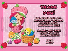 Strawberry Shortcake Thank You Card Personalized Birthday Digital File