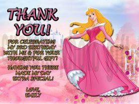 Disney Princess Sleeping Beauty Thank You Card Personalized Birthday Digital File