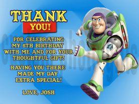 Toy Story Buzz Lightyear Thank You Card Personalized Birthday Digital File