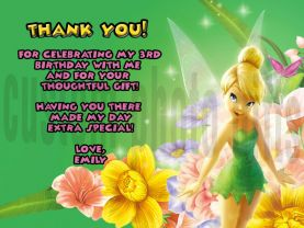 Tinkerbell Thank You Card Personalized Birthday Digital File