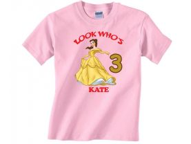 Disney Princess Belle Personalized Custom Birthday Pink or Blue Shirt in sizes Toddler 2T to Youth XL