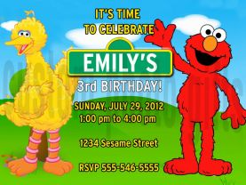 Sesame Street Big Bird Elmo Invitation Personalized Birthday Digital File