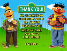 Sesame Street Bert and Ernie Thank You Card Personalized Birthday Digital File