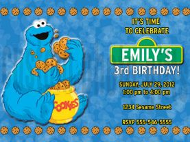Sesame Street Cookie Monster Invitation Personalized Birthday Digital File