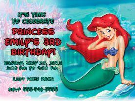 Disney Princess Ariel Little Mermaid Invitation Personalized Birthday Digital File