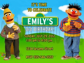 Sesame Street Bert and Ernie Invitation Personalized Birthday Digital File