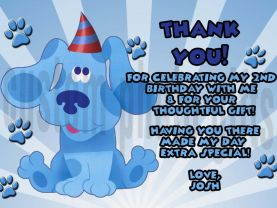 Blues Clues Thank You Card Personalized Birthday Digital File