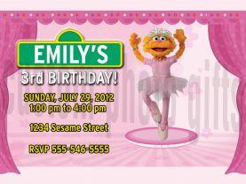 Sesame Street Zoe Invitation Personalized Birthday Digital File