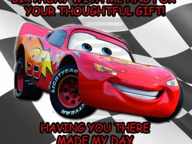 Cars Lightning Mcqueen Thank You Card Personalized Birthday Digital File