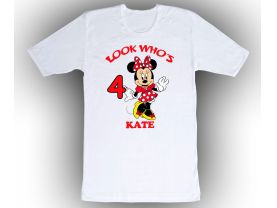 Personalized Minnie Mouse Custom Birthday White Shirt in sizes Toddler 2T to Adult XL