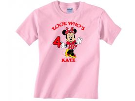 Personalized Minnie Mouse Custom Birthday Pink or Blue Shirt in sizes Toddler 2T to Youth XL