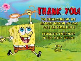 Spongebob Squarepants Thank You Card Personalized Birthday Digital File