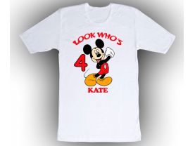 Personalized Mickey Mouse Custom Birthday White Shirt in sizes Toddler 2T to Adult XL
