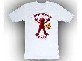 Sesame Street Elmo Personalized Custom Birthday White Shirt in sizes Toddler 2T to Adult XL
