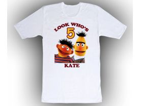 Sesame Street Bert & Ernie Personalized Custom Birthday White Shirt in sizes Toddler 2T to Adult XL