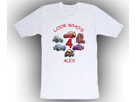 Cars Personalized Custom Birthday White Shirt in sizes Toddler 2T to Adult XL
