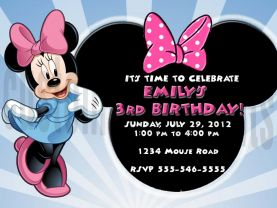 Minnie Mouse Birthday Invitation Personalized Digital File
