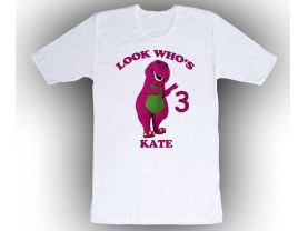Barney Personalized Custom Birthday White Shirt in sizes Toddler 2T to Adult XL