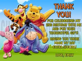 Disney Winnie the Pooh Thank You Card Personalized Birthday Digital File