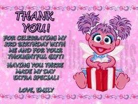 Sesame Street Abby Cadabby Thank You Card Personalized Birthday Digital File