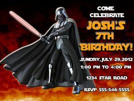Star Wars Darth Vader Invitation Personalized Birthday Digital File