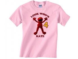 Personalized Sesame Street Elmo Custom Birthday Pink or Blue Shirt in sizes Toddler 2T to Youth XL