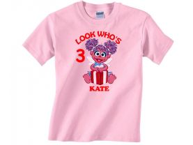 Personalized Sesame Street Abby Caddaby  Custom Birthday Pink or Blue Shirt in sizes Toddler 2T to Youth XL