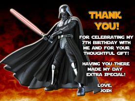 Star Wars Darth Vader Thank You Card Personalized Birthday Digital File