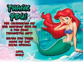 Disney Princess Ariel Little Mermaid Thank You Card Personalized Birthday Digital File