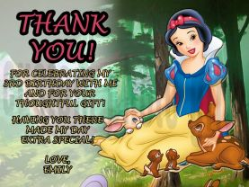 Disney Princess Snow White Thank You Card Personalized Birthday Digital File