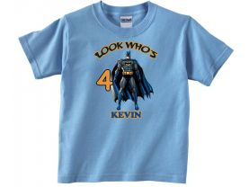Batman Personalized Custom Birthday Pink or Blue Shirt in sizes Toddler 2T to Youth XL