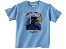 Personalized Sesame Street Cookie Monster Custom Birthday Pink or Blue Shirt in sizes Toddler 2T to Youth XL