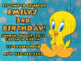 Tweety Bird Invitation Personalized Birthday Digital File
