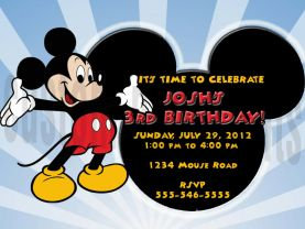 Mickey Mouse Birthday Invitation Personalized Digital File