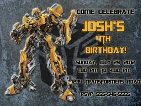 Transformers Bumblebee Invitation Personalized Birthday Digital File