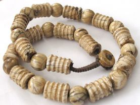 Old Carved tribal naga conch shell beaded necklace Nepal -