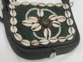 Vintage Tibetan handbag with glass beads , cowrie shell and ethnic tibetan bead