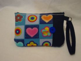 Button Nose wristlet with Denim.