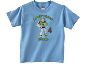 Toy Story Buzz Lightyear Personalized Custom Birthday Blue or Pink Shirt in sizes Toddler 2T to Youth XL