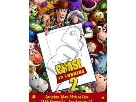 Toy Story  Birthday Invitations W/Photo- Toy Story Invitations 4x6/ 5x7 Digital File Design 8