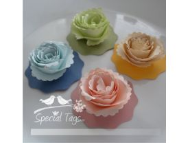 Pretty Paper Flowers- Set of 30 - Scrapbooking - Cards - Weddings - Bridal Showers -Choose your colors