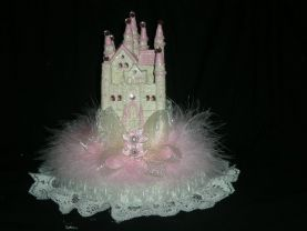 Party   supplies wedding quinceanera   quinceanera sweet 16 cinderella  castle llight cake topper in pink
